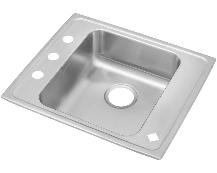 "Elkay DRKAD222040 Lustertone Stainless Steel 22"" x 19-1/2"" x 4"", Single Bowl Drop-in Classroom ADA Sink"