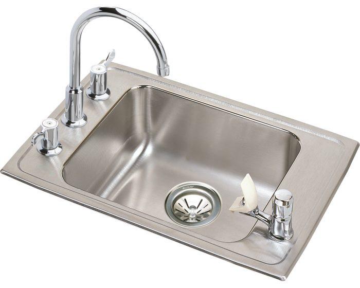 "Elkay DRKAD222040C Lustertone Stainless Steel 22"" x 19-1/2"" x 4"", 4-Hole Single Bowl Drop-in Classroom ADA Sink Kit"