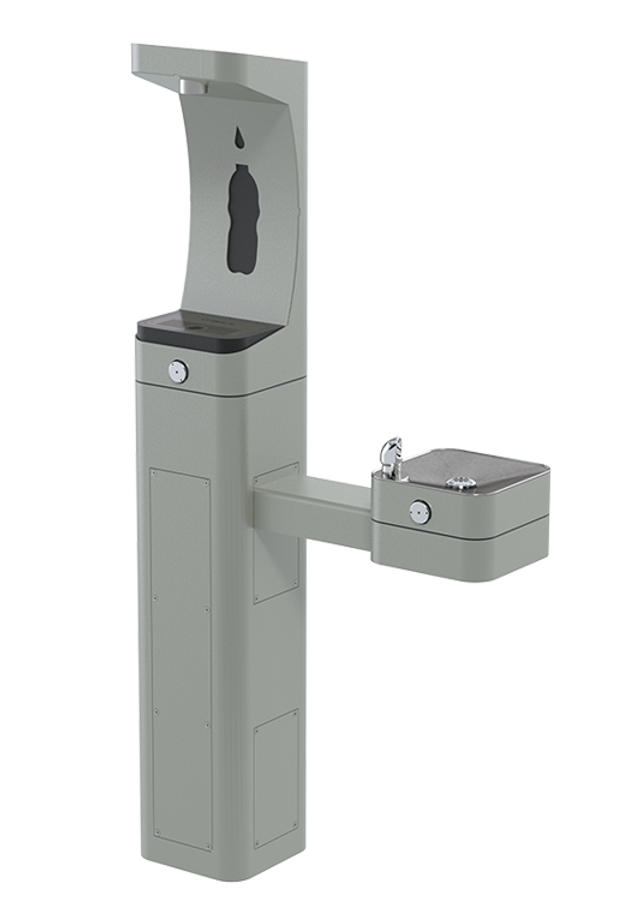 Haws 3611F heavy-duty outdoor, ADA filtered pedestal bottle filler and drinking fountain with matte silver powder-coated finish, non-refrigerated