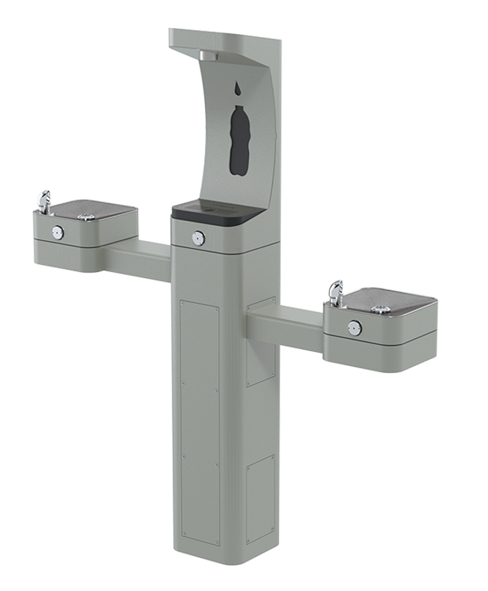 Haws 3612F heavy-duty outdoor, ADA filtered pedestal bottle filler and drinking fountain with matte silver powder-coated finish, non-refrigerated