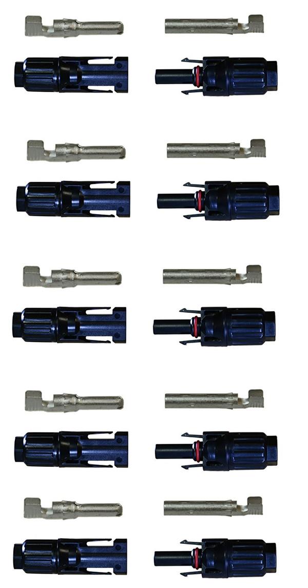 Renogy MC4 Male/Female Solar Panel Cable Connectors (5 Pair)
