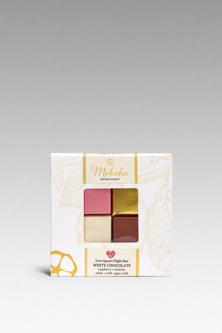 Valentine's Day Love Flight Squares in Raspberry White, Matcha White, Dark Chocolate, and White Chocolate