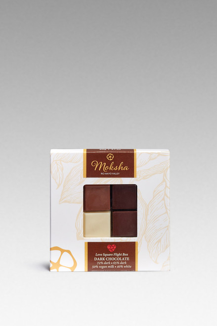 dark, semi-sweet and white chocolate sampler