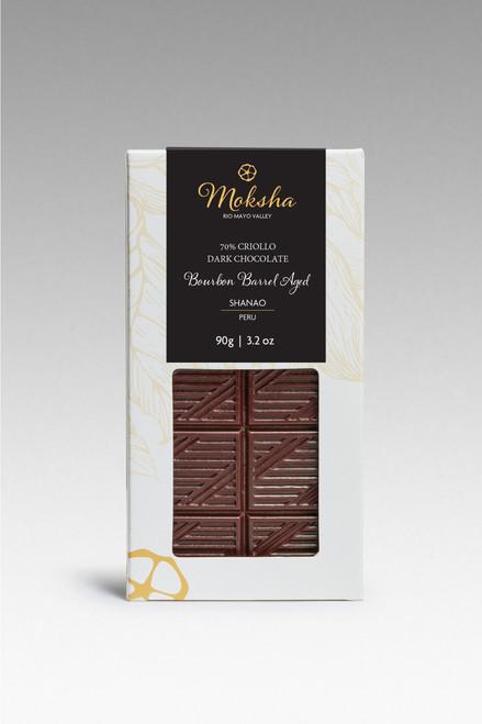 Whiskey Barrel Aged 70% Chocolate Bar from Moksha Chocolate