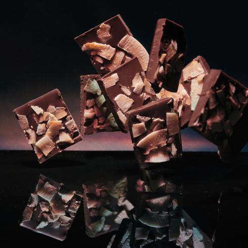 Artisan dark chocolate coconut bar