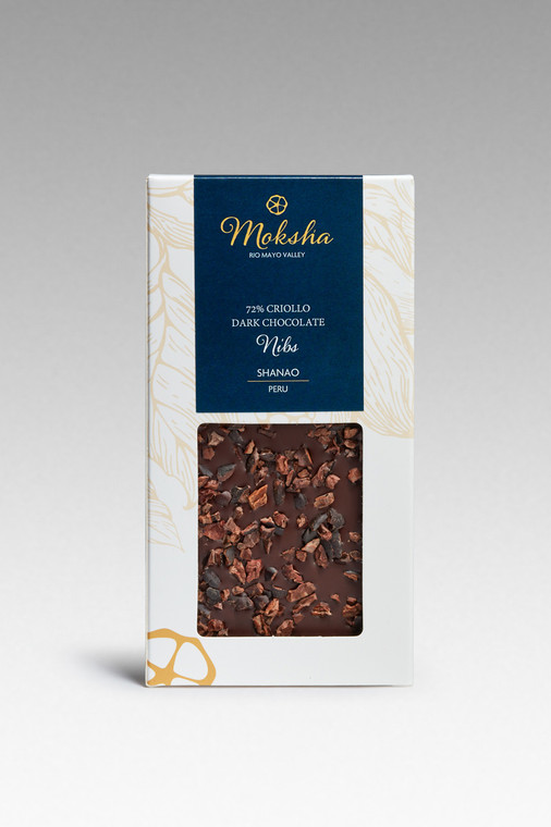Dark Chocolate Nibs Bar 72% Cacao