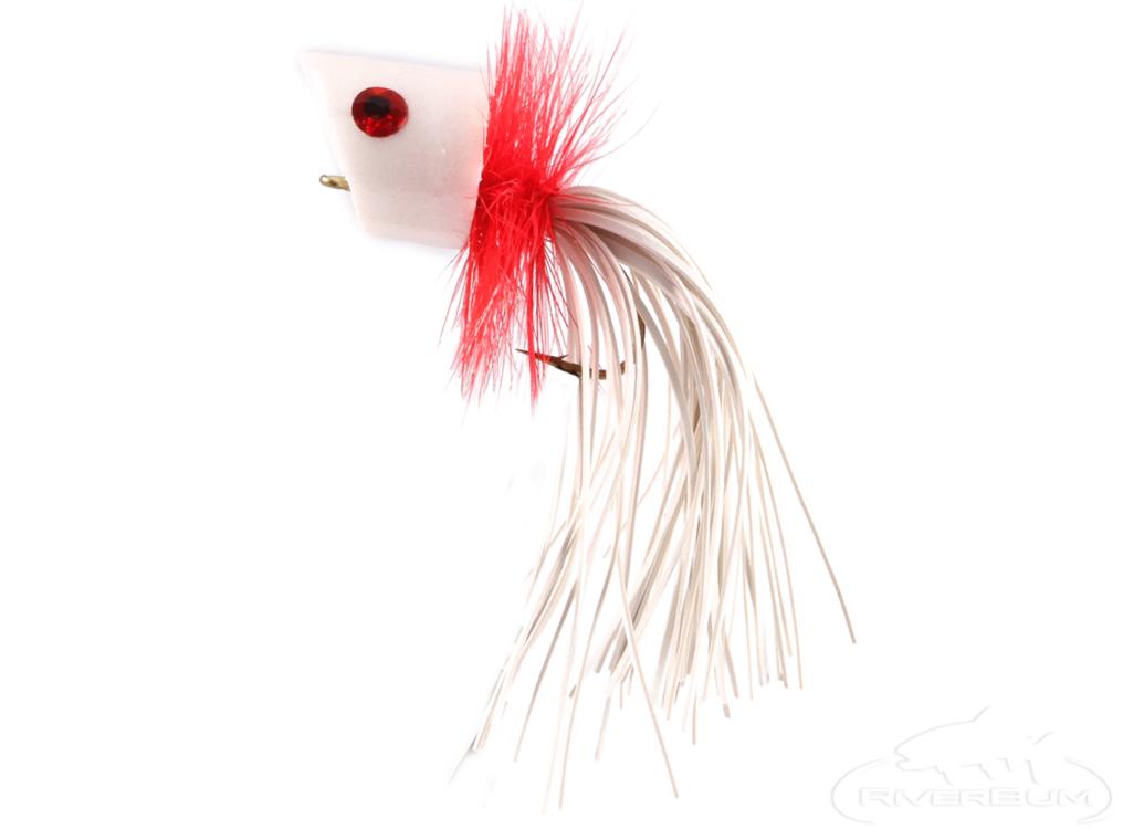 2QTY FOAM PANFISH POPPER RED  Fly Fishing Flies size 10