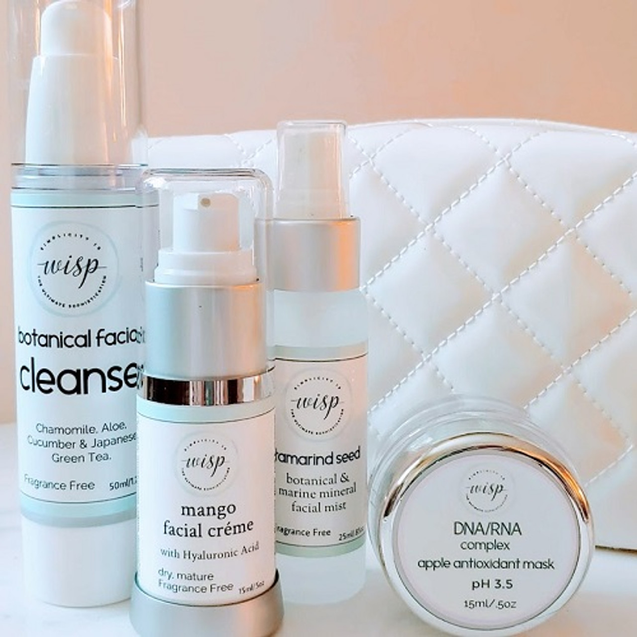 Wisp's essential skincare it with mango facial creme, tamarind seed marine mineral mist, facial mask, botanical facial cleanse in elegant cosmetic bag