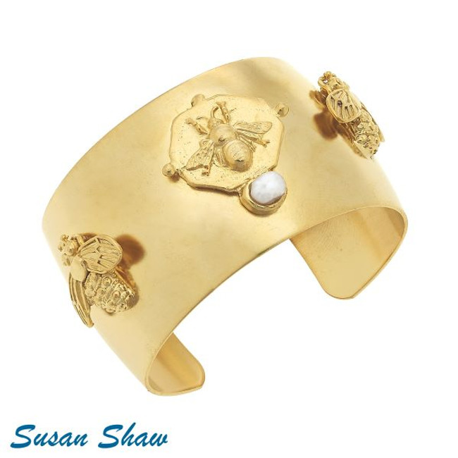 Bee Cuff with handset genuine freshwater pearl by Susan Shaw