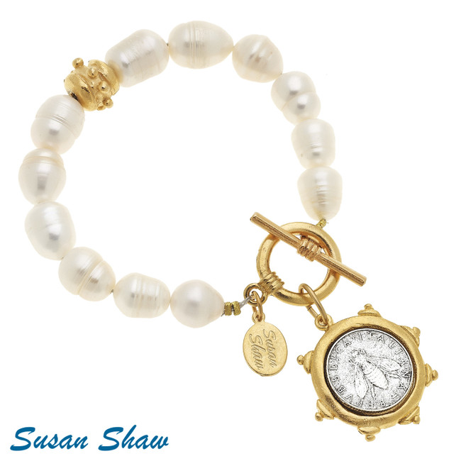 Handcast Gold/Silver Bee Italian Coin on Genuine Freshwater Pearl Bracelet  Susan Shaw