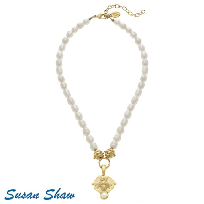 Genuine Freshwater Pearl Necklace with Gold Bee Intaglio and Handset Pearl Pendant by Susan Shaw