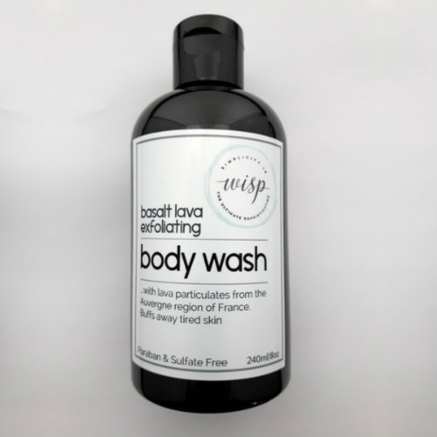basalt-lava-body-wash   Gently exfoliates dead skin cells without abrasion. Fragrance, SLS, Colorant Free