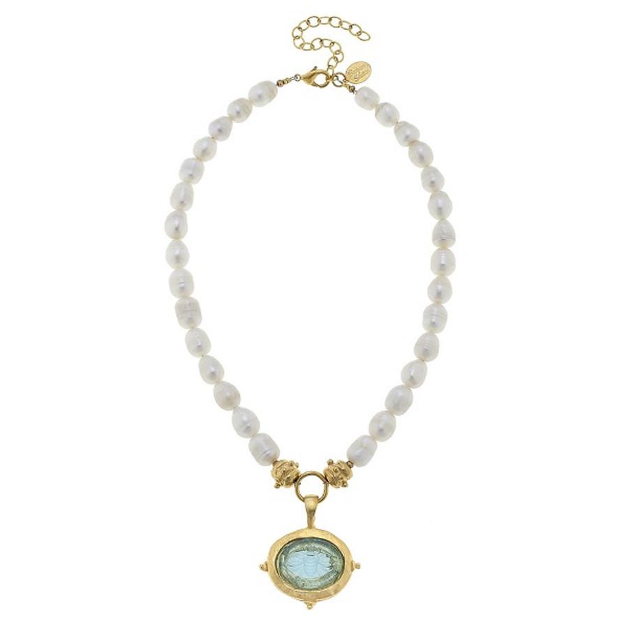 Aqua Venetian Glass Bee Intaglio on Genuine Freshwater Pearl Necklace by Susan Shaw