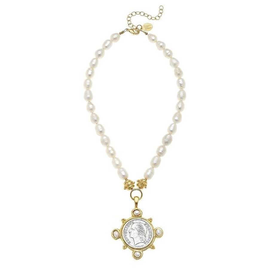 Susan Shaw- Marie Necklace Pearl & Coin