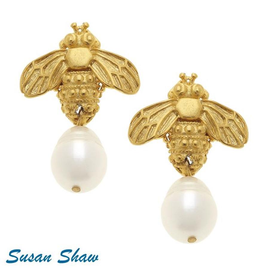 Bee+Pearl Drop earrings Susan Shaw Handcast 24K
