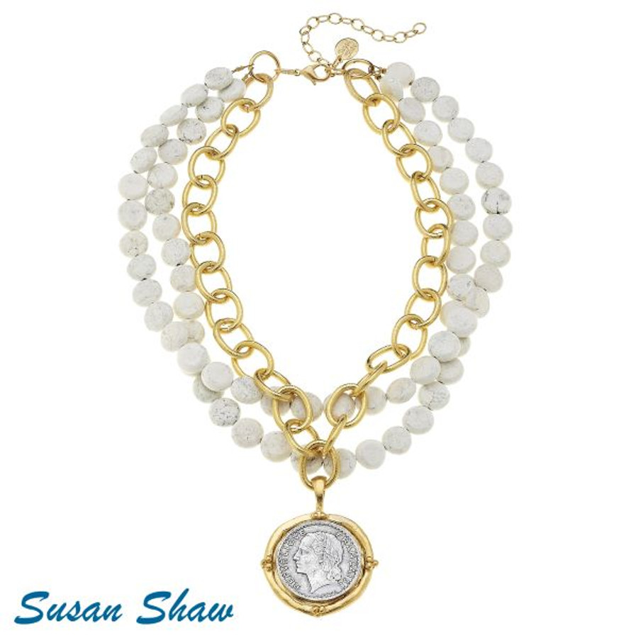 Susan Shaw White Turquoise necklace with gold chain and French Coin