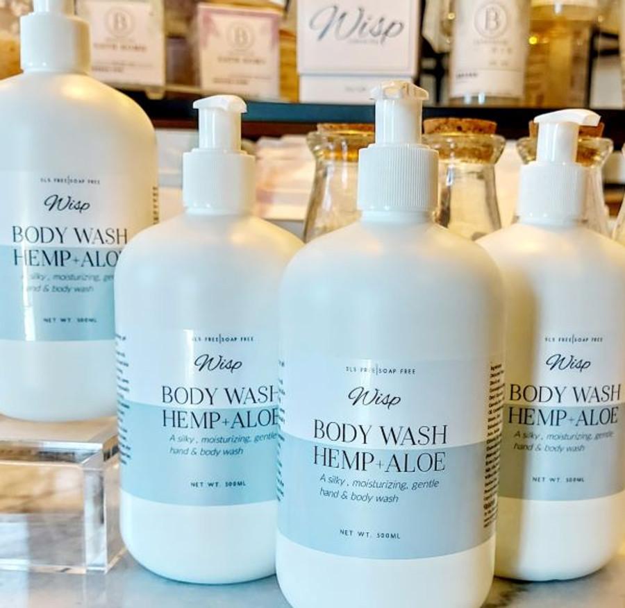 Body Wash Hemp, Aloe, Willow, Chamomile. Free of fragrance, detergents, SLS, phosphates, biodegradable. Mild formula.