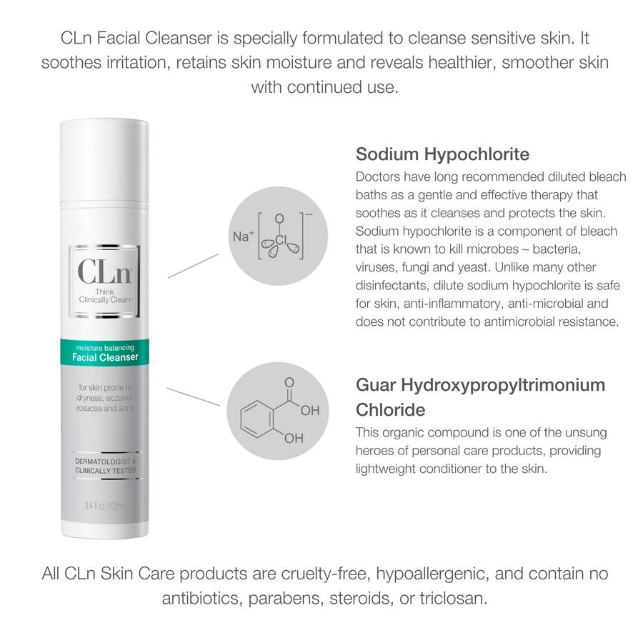 CLn facial cleanser for eczema, rash, redness, roscea, acne