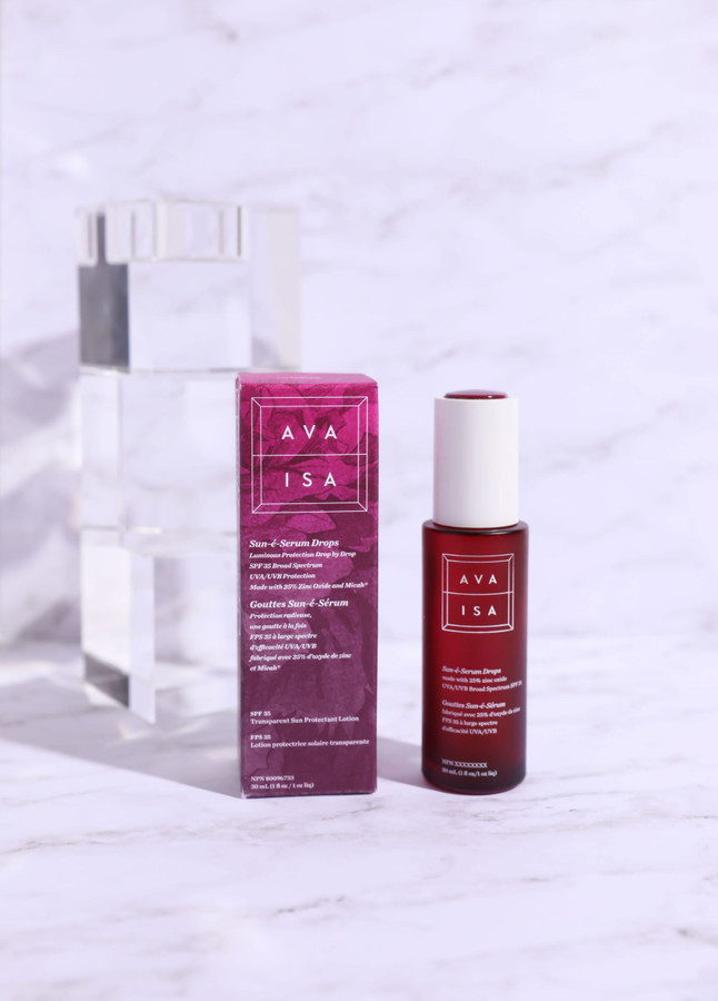 AVA ISA Sun-é-Serum Drops SPF35 No fragrance or essential oils Mineral Sunscreen 25% Zinc Oxide