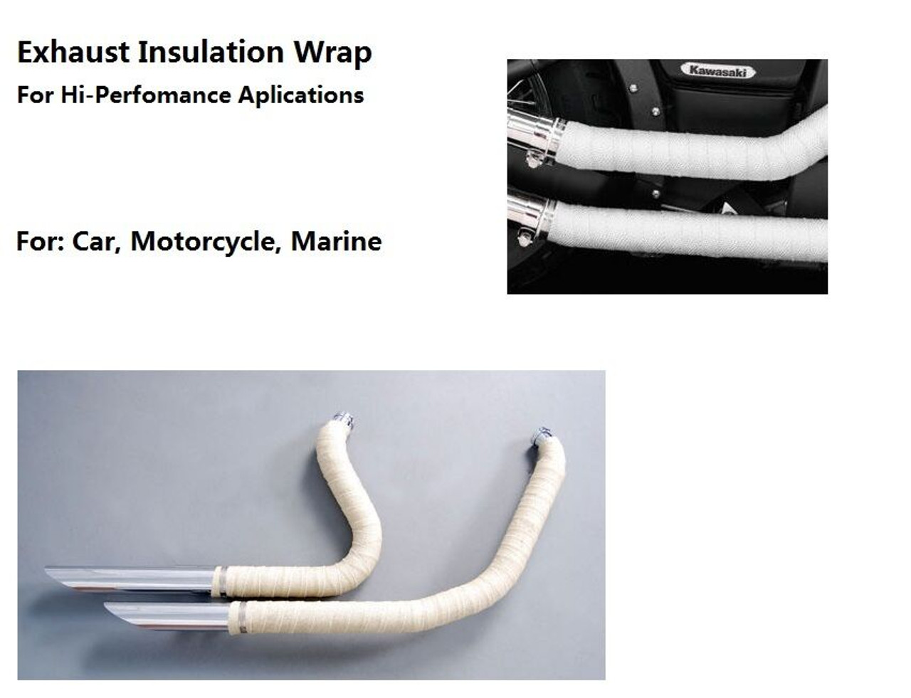 Exhaust Insulation Wrap 10m x 50mm + 10 S/S Fasteners -White