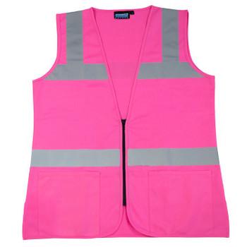 61913 ERB S721 Non ANSI Ladies Fitted Tricot Hi Viz Pink 2X Safety Apparel - Aware Wear & Hi Viz Ts