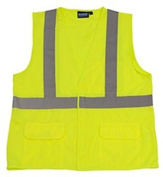 65012 ERB S190 Class 2 Fame Retardant Treated Vest Hi Viz Lime XL Safety Apparel - Aware Wear & Hi Viz Ts