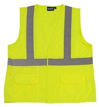65015 ERB S190 Class 2 Fame Retardant Treated Vest Hi Viz Lime 4X Safety Apparel - Aware Wear & Hi Viz Ts