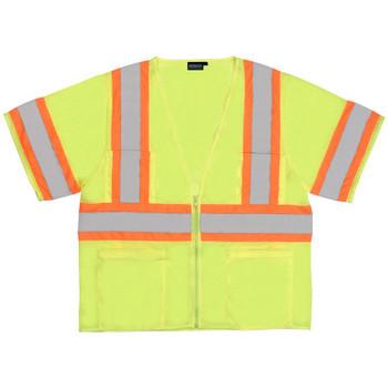 62142 ERB S683P Mesh Contrasting Trim Hi Viz Lime 5X Safety Apparel - Aware Wear & Hi Viz Ts