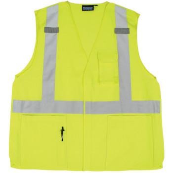 61377 ERB S360 Class 2 Woven Oxford Break-Away Hi Viz Lime X-Large Safety Apparel - Aware Wear & Hi Viz Ts