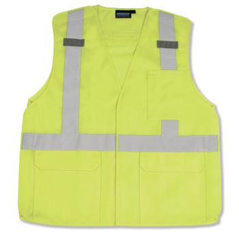 61393 ERB S361 Class 2 Tricot Break-Away Hi Viz Lime 2X Safety Apparel - Aware Wear & Hi Viz Ts