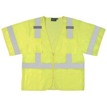 61615 ERB S852 Class 3 Front/Mesh Back Hi Viz Lime 3X Safety Apparel - Aware Wear & Hi Viz Ts