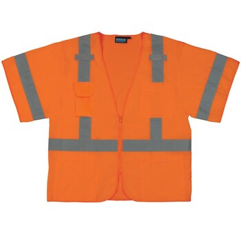 61621 ERB S852 Class 3 Front/Mesh Back Hi Viz Orange Large Safety Apparel - Aware Wear & Hi Viz Ts