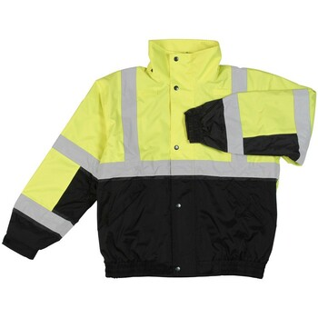 61592 ERB W106 Class 2 Bomber Jacket Hi Viz Lime and Black LG Safety Apparel - Aware Wear & Hi Viz Ts