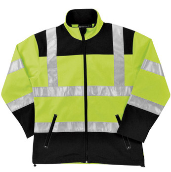62199 ERB W651 Class 2 Soft Shell Jacket Women's Hi Viz Lime XL Safety Apparel - Aware Wear Cold Weather Wear