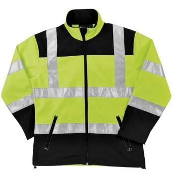 62201 ERB W651 Class 2 Soft Shell Jacket Women's Hi Viz Lime 3X Safety Apparel - Aware Wear Cold Weather Wear