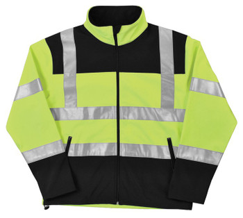 62203 ERB W650 Class 2 Soft Shell Jacket Men's Hi Viz Lime MD Safety Apparel - Aware Wear Cold Weather Wear