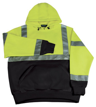61549 ERB W377 Class 2 Hooded Sweatshirt pullover Hi Viz Lime LG Safety Apparel - Aware Wear Cold Weather Wear