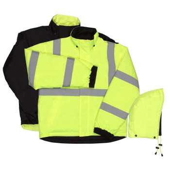 62056 ERB W442 Class 3 Reversible Bomber Jacket Hi Viz Lime 4X Safety Apparel - Aware Wear Cold Weather Wear