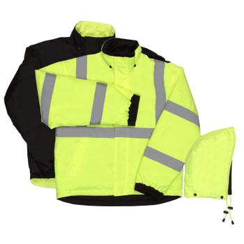 62057 ERB W442 Class 3 Reversible Bomber Jacket Hi Viz Lime 5X Safety Apparel - Aware Wear Cold Weather Wear