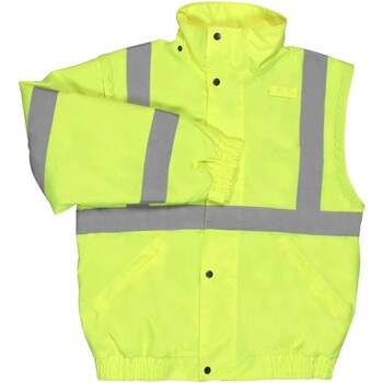 62080 ERB W492 Class 2 Zip-Off Sleeve Bomber Jacket Hi Viz Lime Large Safety Apparel - Aware Wear Cold Weather Wear