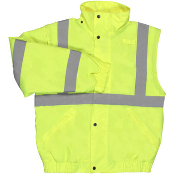 62083 ERB W492 Class 2 Zip-Off Sleeve Bomber Jacket Hi Viz Lime 3X Safety Apparel - Aware Wear Cold Weather Wear