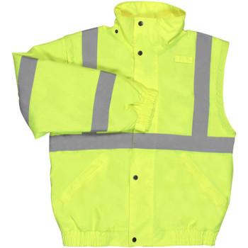 62084 ERB W492 Class 2 Zip-Off Sleeve Bomber Jacket Hi Viz Lime 4X Safety Apparel - Aware Wear Cold Weather Wear