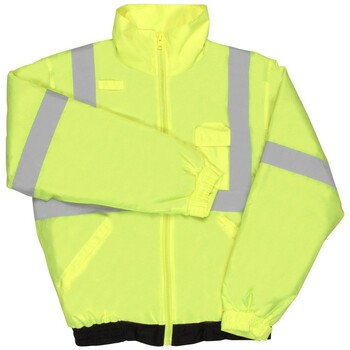 62095 ERB S635 Class 2 Lightweight Bomber Jacket Hi Viz Lime XL Safety Apparel - Aware Wear Cold Weather Wear