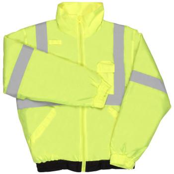 62099 ERB S635 Class 2 Lightweight Bomber Jacket Hi Viz Lime 5X Safety Apparel - Aware Wear Cold Weather Wear