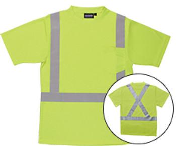 62186 ERB 9006SX Class 2 T-Shirt with X Back Reflective Tape Birdseye Knit Mesh Hi Viz Lime 4X Safety Apparel - Aware Wear & Hi Viz Ts