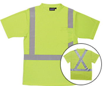 62187 ERB 9006SX Class 2 T-Shirt with X Back Reflective Tape Birdseye Knit Mesh Hi Viz Lime 5X Safety Apparel - Aware Wear & Hi Viz Ts