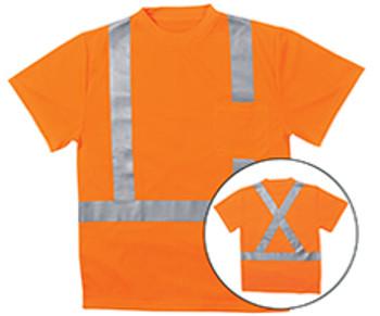 62190 ERB 9006SX Class 2 T-Shirt with X Back Reflective Tape Birdseye Knit Mesh Hi Viz Orange LG Safety Apparel - Aware Wear & Hi Viz Ts
