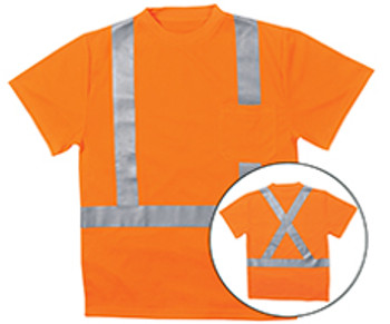 62192 ERB 9006SX Class 2 T-Shirt with X Back Reflective Tape Birdseye Knit Mesh Hi Viz Orange 2X Safety Apparel - Aware Wear & Hi Viz Ts