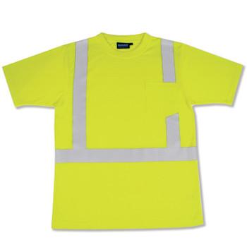 14116 ERB 9601S Class 2 Short Sleeve with Reflective Tape Hi Viz Lime 4X Safety Apparel - Aware Wear & Hi Viz Ts
