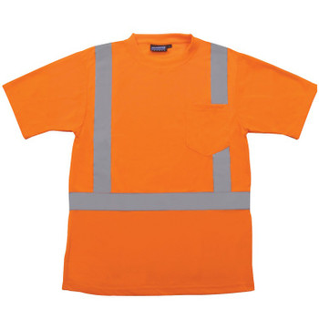 61784 ERB 9601S Class 2 Short Sleeve with Reflective Tape Hi Viz Orange 2X Safety Apparel - Aware Wear & Hi Viz Ts